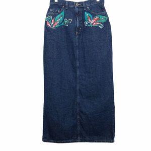 Vintage Denim Maxi Skirt Hand Painted Size 4